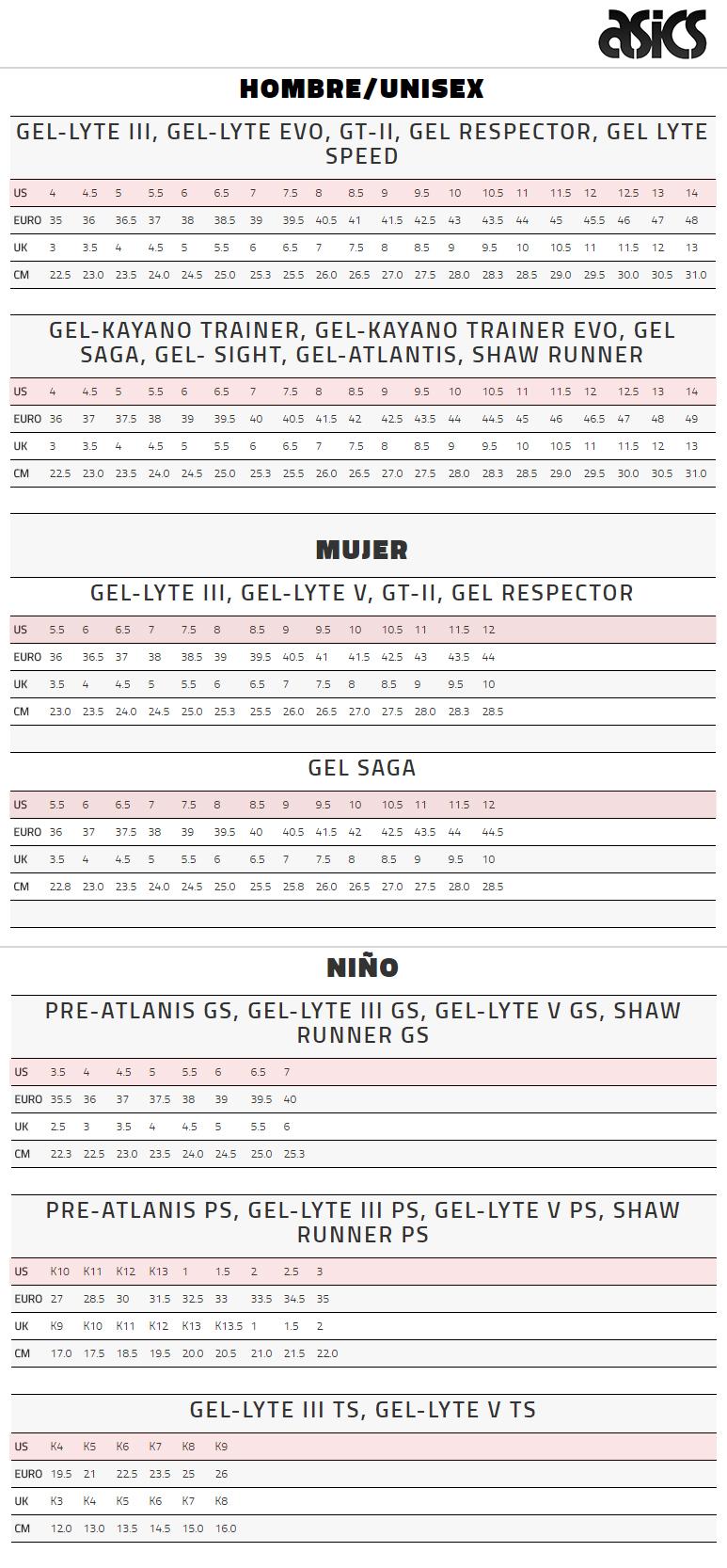 Guía de tallas de zapatillas deportivas Asics Tiger